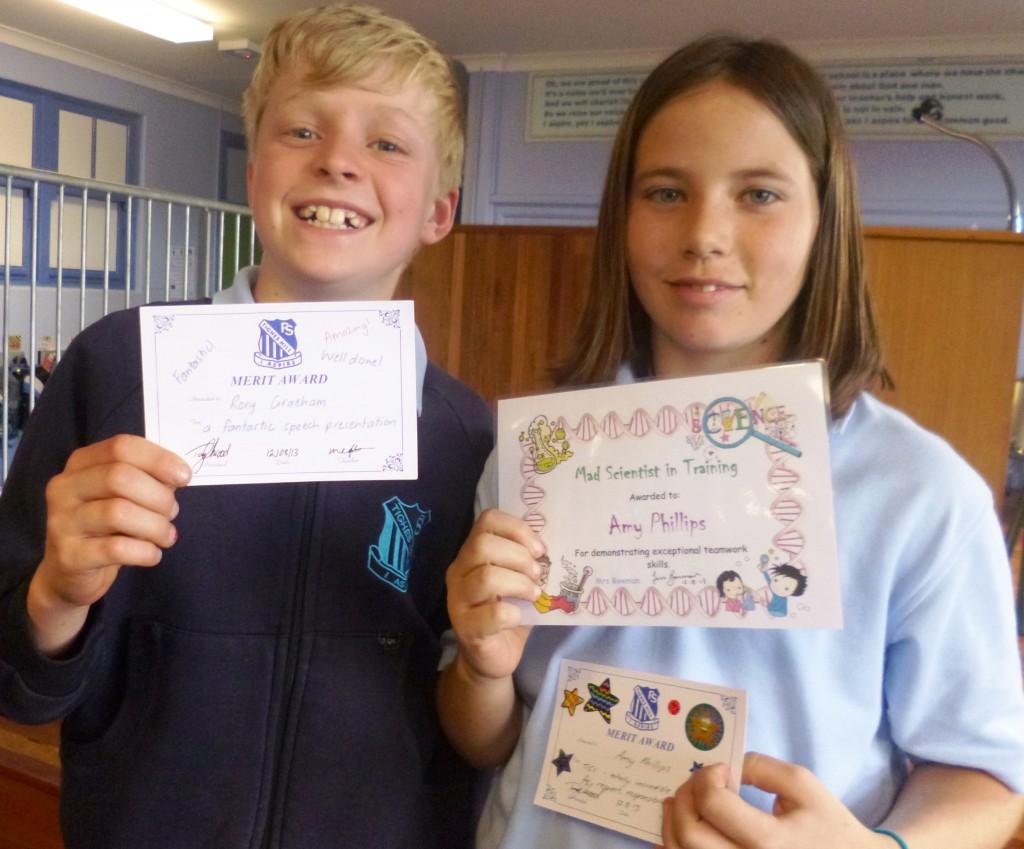 Rory - Library award Amy - Science award