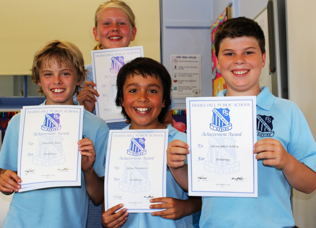 Year 6 Debaters - Mitch, Heather, Allan and Chris
