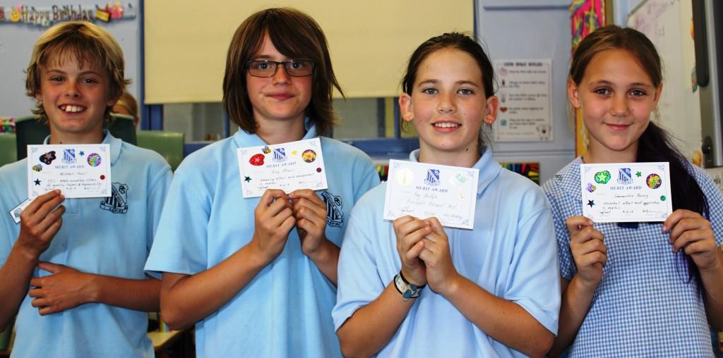 Class Awards - Mitch, Eva and Sam. PPB - Amy