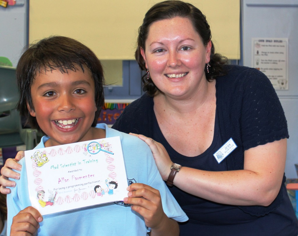 Mrs Bowman's Term 4 Science Award - Allan for being a programming perfectionist.
