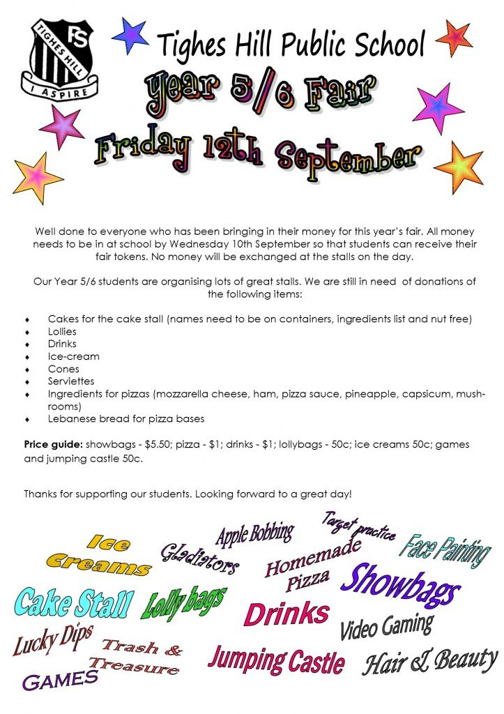 Yr 6 Fair 2014 note reminder 2