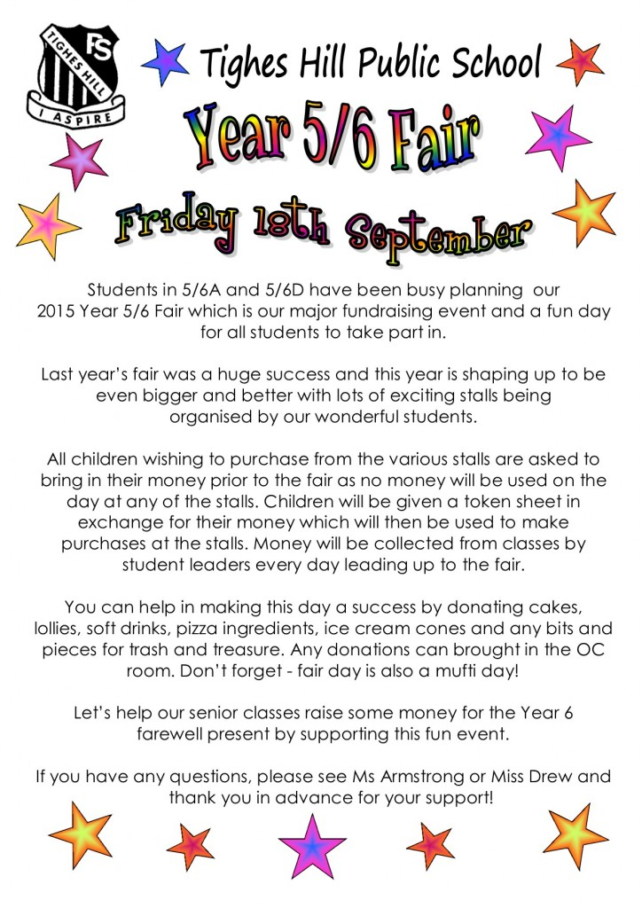 Yr 6 Fair 2015 note new